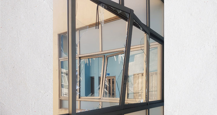 Broken windows at a Nazarene school in Beirut